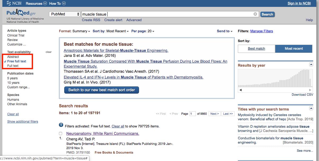 PubMedで無料論文を読む場合